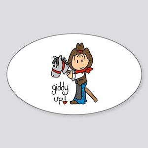 Giddy Up Cowboy Oval Sticker