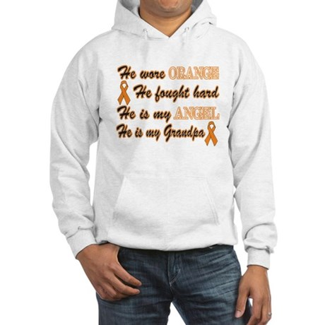 He is my Grandpa Orange Angel Hooded Sweatshirt