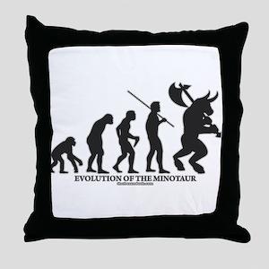 Evolution of the Minotaur Throw Pillow