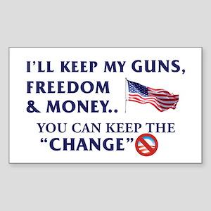 Keep Guns, Freedom & Money Rectangle Sticker