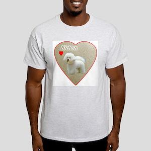 Bichon with heart Ash Grey T-Shirt