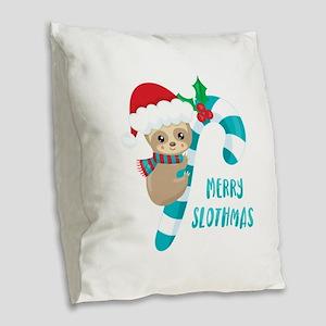 Merry Slothmas Burlap Throw Pillow