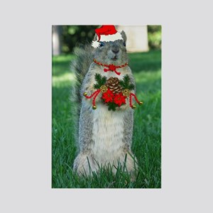 Christmas Squirrel Rectangle Magnet
