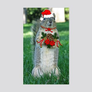 Christmas Squirrel Sticker (Rectangle)