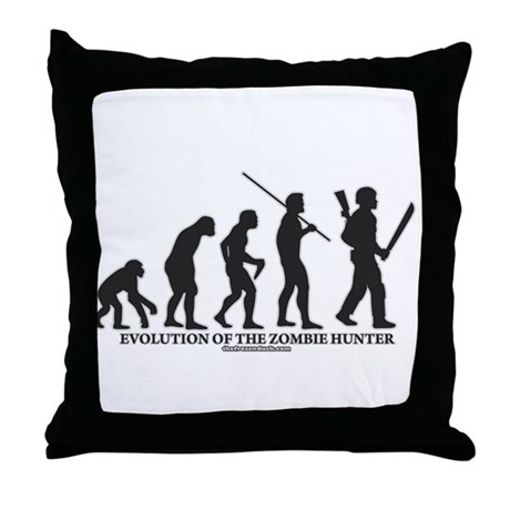 Evolution of the Zombie Hunter Throw Pillow