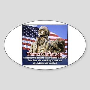 Thomas Jefferson quotes Oval Sticker