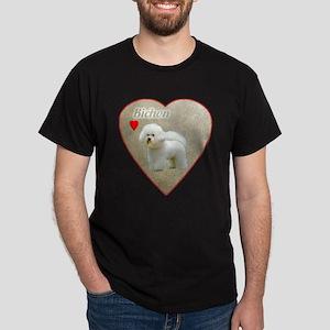 Bichon with heart Black T-Shirt
