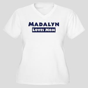 Madalyn Loves Mom Women's Plus Size V-Neck T-Shirt