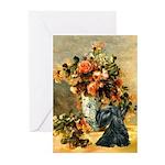 Vase / Scottie (blk) Greeting Cards (Pk of 20)
