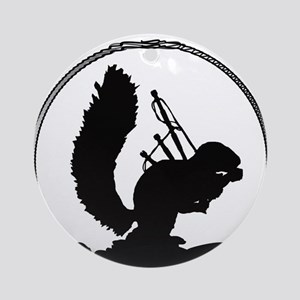 Squirrel of the Pipes Round Ornament