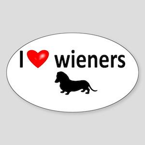 I Love Wieners Oval Sticker