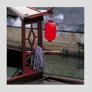 China Tile Coaster: <br> Lantern on a boat