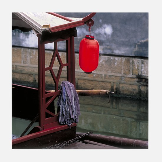 China Tile Coaster: <br> Lantern on a boat