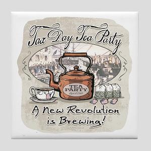 Tax Day Tea Party Tile Coaster