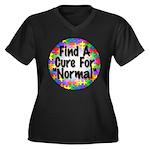 Cure Normal Women's Plus Size V-Neck Dark T-Shirt