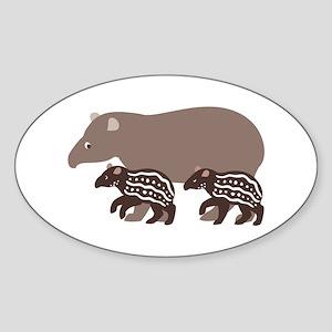 Tapir Family A Oval Sticker