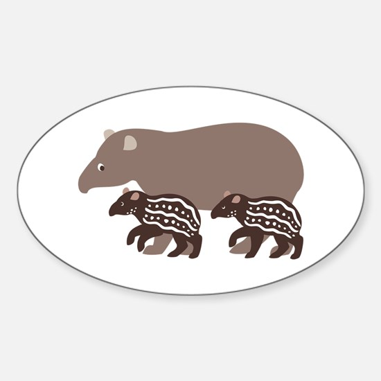 Tapir Family A Oval Decal