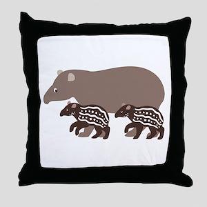Tapir Family A Throw Pillow