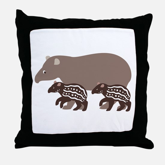 Tapir Family A Throw Pillow