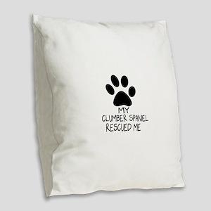Clumber Spaniel Rescued Me Burlap Throw Pillow