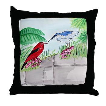 Hawaiian Birds Throw Pillow