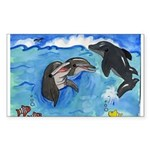 Happy Playing Dolphin Sticker (Rectangular)