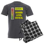 DANGER-HUNGER LEVEL CRITICAL Men's Charcoal Pajama