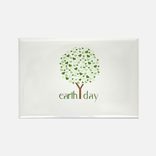 Earth Day Tree - Think Green Rectangle Magnet (100