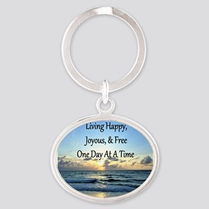 LIVING HAPPY Oval Keychain