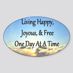 LIVING HAPPY Sticker (Oval)