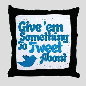 Tweet Blue Bird Throw Pillow