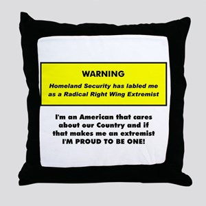 Proud American Extremist Throw Pillow