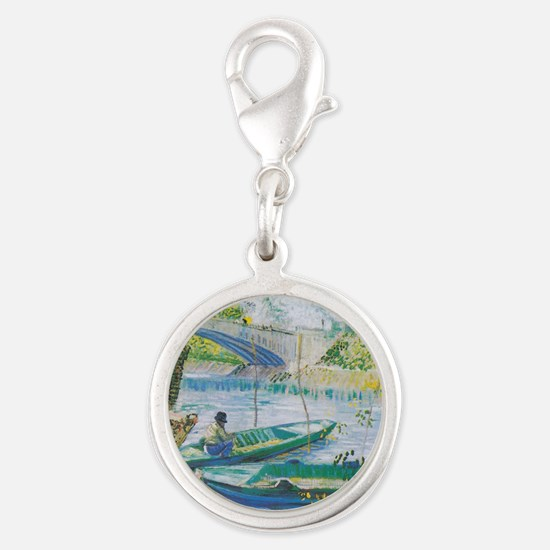 Van Gogh Fisherman and boats Silver Round Charm