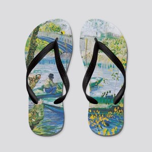 Van Gogh Fisherman and boats Flip Flops