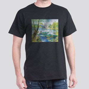 Van Gogh Fisherman and boats Dark T-Shirt