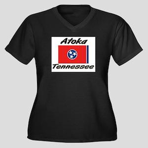 Atoka Tennessee Women's Plus Size V-Neck Dark T-Sh