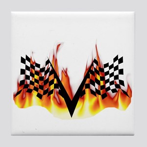 Racing Flag Fire 1 Tile Coaster