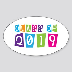 Colorful Class Of 2019 Oval Sticker