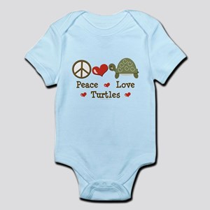 Peace Love Turtles Infant Pink Bodysuit