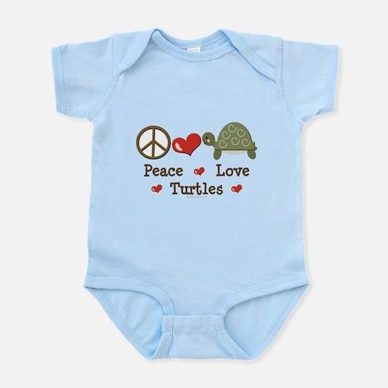 Peace Love Turtles Infant Pink Bodysuit