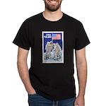 Apollo 11 Flag on Moon Stamp Black T-Shirt