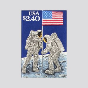Apollo 11 Flag on Moon Stamp Rectangle Magnet