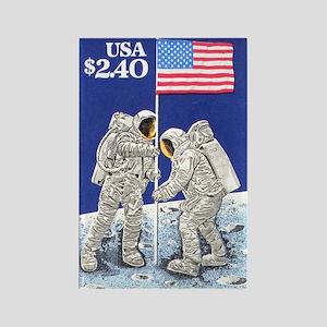 Apollo 11 Flag on Moon Stamp Rectangle Magnet