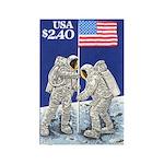 Apollo 11 Flag on Moon Stamp Rectangle Magnet (10