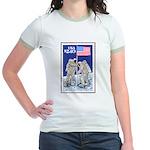 Apollo 11 Flag on Moon Stamp Jr. Ringer T-Shirt
