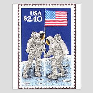 Apollo 11 Flag on Moon Stamp Small Poster
