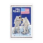 Apollo 11 Flag on Moon Stamp Rectangle Sticker