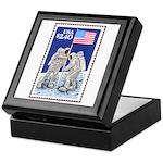Apollo 11 Flag on Moon Stamp Keepsake Box