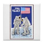 Apollo 11 Flag on Moon Stamp Tile Coaster