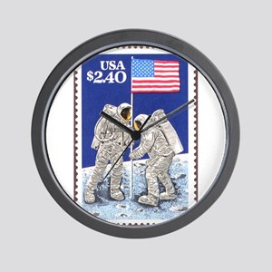 Apollo 11 Flag on Moon Stamp Wall Clock